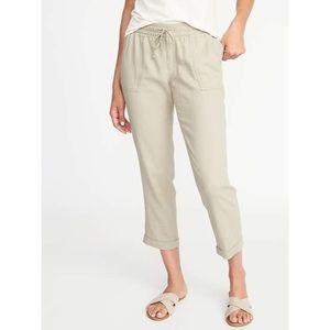 Old Navy • Stones Throw Linen Khaki Crop Pants